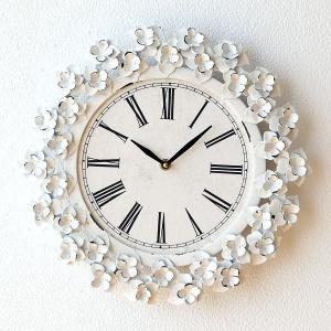 壁掛け時計 掛け時計 掛時計 壁掛時計 おしゃれ アンティーク ホワイト 白 かわいい アイアンフラワークロック