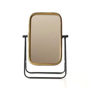 鏡 卓上ミラー おしゃれ レトロ アンティーク 角度調節 メイクミラー 化粧ミラー スタンドミラー アイアンカプリスミラー|gigiliving