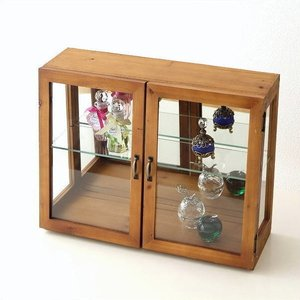 ガラスケース ショーケース ディスプレイケース 扉付き収納 コレクションケース 木製 ナチュラル カントリー コレクションケース レトロウッドのガラスケース|gigiliving