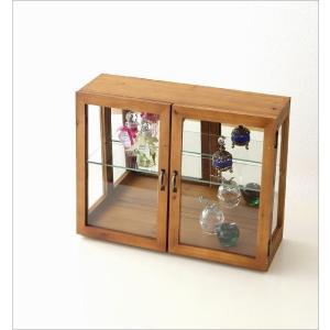 ガラスケース ショーケース ディスプレイケース 扉付き収納 コレクションケース 木製 ナチュラル カントリー コレクションケース レトロウッドのガラスケース|gigiliving|02