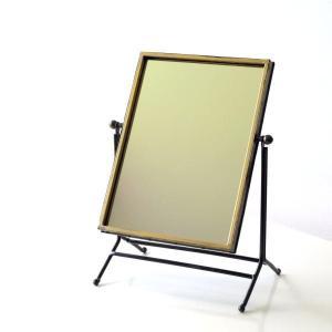 鏡 卓上ミラー おしゃれ アンティーク レトロ シンプル スタンドミラー 化粧ミラー 化粧鏡 メイクミラー 可動式 角度調節 ゴールドフェンススイングミラー|gigiliving