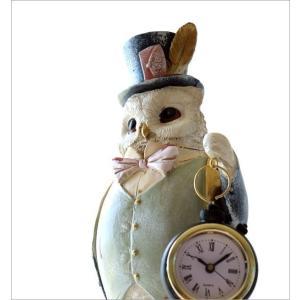 置き時計 置時計 おしゃれ アナログ レトロ アンティーク 卓上 時計 かわいい ふくろう フクロウ 雑貨 置物 オブジェ インテリア ジェントルオウルクロック gigiliving 02