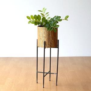 リーフ模様の オシャレなアイアンの鉢ポット  アイアンのスタンドが付いていて 観葉植物などの鉢ポット...