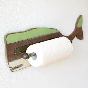 キッチンペーパーホルダー おしゃれ アンティーク レトロ シャビー マリン 壁掛け 壁付け 金属 木製 かわいい クジラのペーパーホルダー|gigiliving