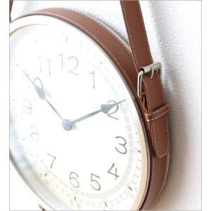 壁掛け時計 掛け時計 合皮レザー ウォールクロック おしゃれ 吊り下げ レザーベルト掛け時計|gigiliving|04