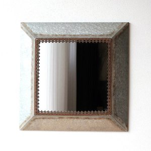 鏡 壁掛けミラー おしゃれ アンティーク レトロ 大型 大きい リビング 玄関 シャビー クラシック エレガント 正方形 四角 スクエアメタルフレームのビッグミラー|gigiliving