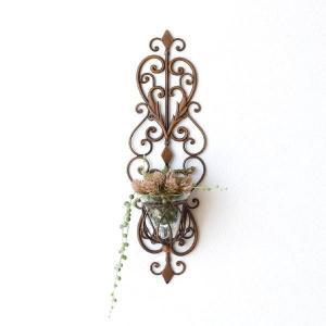花瓶 花びん フラワーベース ガラス アイアン 壁掛け おしゃれ キャンドルホルダー 壁飾り インテリア アンティーク ウォールデコ メタルな壁掛ガラスホルダー gigiliving