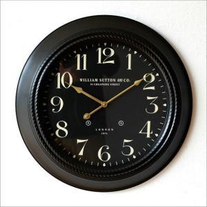 壁掛け時計 掛け時計 掛時計 壁掛時計 おしゃれ モダン ウォールクロック レトロ アンティーク 丸型 LONDON 1894 黒 ブラックスチールの掛時計|gigiliving