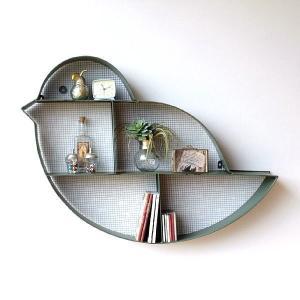 ウォールシェルフ アイアン アンティーク 飾り棚 壁 壁掛け 棚 シェルフ ウォールラック おしゃれ モダン 鳥 デザイン アイアンとメッシュの壁掛棚 バード|gigiliving