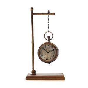 置き時計 置時計 おしゃれ アンティーク アナログ リビング スタンドクロック レトロ 卓上 時計 レトロな懐中時計型スタンド|gigiliving