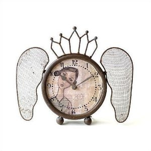 置き時計 置時計 おしゃれ アンティーク レトロ アナログ ブロカント シャビー 可愛い デザイン 卓上 時計 スタンドクロック レトロなウィング付き置き時計|gigiliving