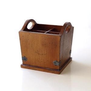 カトラリースタンド おしゃれ 木製 ペン立て レトロ アンティーク風 クラシック ウッドカトラリーホルダー|gigiliving