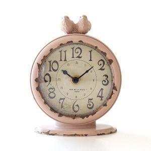 置き時計 かわいい ピンク 鳥 アナログ レトロ アンティーク 2バードレトロスタンドクロック サークル|gigiliving