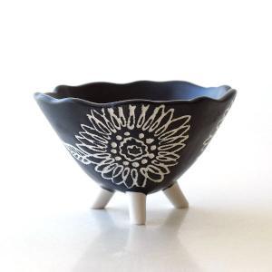 プランター 鉢 陶器 おしゃれ 向日葵 小物入れ ボウル ブラック 黒 陶器の脚付きプランター