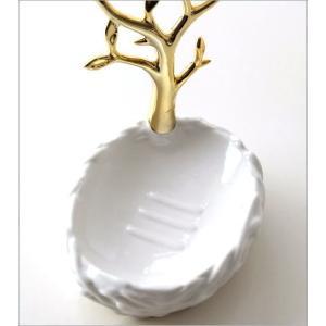 ソープディッシュ 陶器 おしゃれ 石鹸置き せっけん置き 石鹸皿 白 ホワイト 金 ゴールド 陶器のソープディッシュ&リングホルダー ツリー|gigiliving|03