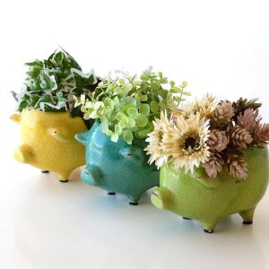 プランター 鉢 陶器 かわいい 可愛い おしゃれ 小さい レトロ 小物入れ 花瓶 フラワーベース ぶた 豚 雑貨 陶器のブタさんミニプランター 3カラー|gigiliving