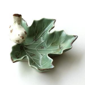 トレイ 鳥 陶器 おしゃれ 小物入れ 鍵入れ キートレイ プレート アクセサリートレイ 陶器のバードリーフトレイ|gigiliving