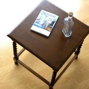 サイドテーブル おしゃれ 木製 ベッドサイドテーブル ソファサイドテーブル コーナーテーブル 花台 アンティーク クラシック オークフリーサイドテーブル|gigiliving