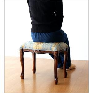 スツール アンティーク 木製 おしゃれ クッション 椅子 無垢材 生地張り 天然木 玄関椅子 ドレッサースツール エレガント マホガニースツール猫脚 B gigiliving 05