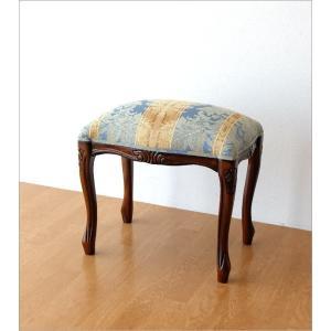 スツール アンティーク 木製 おしゃれ クッション 椅子 無垢材 生地張り 天然木 玄関椅子 ドレッサースツール エレガント マホガニースツール猫脚 B gigiliving 06