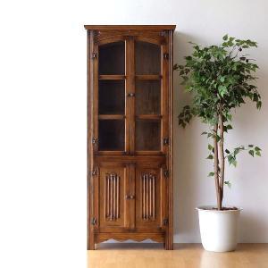 食器棚 カップボード キャビネット ガラス扉付き 木製 アンティーク 収納 完成品 オーク飾り棚|gigiliving