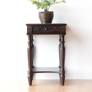 アンティーク 家具 サイドテーブル サイドチェスト 電話台 FAX台 完成品 アンティークな花台|gigiliving
