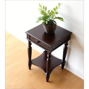 アンティーク 家具 サイドテーブル サイドチェスト 電話台 FAX台 完成品 アンティークな花台 gigiliving 02
