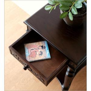 アンティーク 家具 サイドテーブル サイドチェスト 電話台 FAX台 完成品 アンティークな花台 gigiliving 04