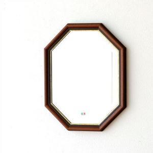 鏡 壁掛けミラー アンティーク イタリア製 八角鏡 八角ミラー ウォールミラー クラシック ヨーロピアン シンプル 玄関 イタリアンミラー ゴールドライン|gigiliving