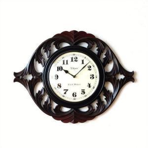 壁掛け時計 掛け時計 掛時計 壁掛時計 おしゃれ アンティーク レトロ 木製 クラシック ヨーロピアン 北欧 カフェ ブラック 黒 ウッドクロック カービング|gigiliving