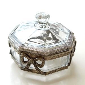 小物入れ ガラス ふた付き おしゃれ キャニスター アクセサリーケース ボックス 蓋付き アンティーク クラシック ガラスのエレガントBOX B gigiliving