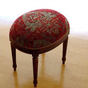 スツール アンティーク クラシック おしゃれ 椅子 いす 布張り 木製 エレガントなオーバルスツール|gigiliving
