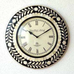 壁掛け時計 掛け時計 掛時計 壁掛時計 おしゃれ アンティーク レトロ クラシック ヨーロピアン 北欧 カフェ 丸型 ラウンド ウォールクロック ボーンフラワー|gigiliving