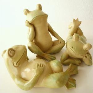 かえる オブジェ 雑貨 リラックスカエルの置物 3タイプ|gigiliving