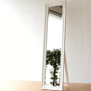 姿見鏡 おしゃれ 全身鏡 全身ミラー アンティークホワイトのスタンドミラー|gigiliving