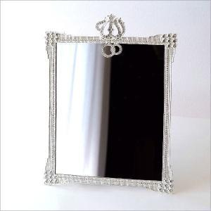 鏡 卓上ミラー 壁掛けミラー キラキラ おしゃれ エレガント ビジュー シルバー 上品 四角 スタンドミラー キラキラミラー スクエア|gigiliving