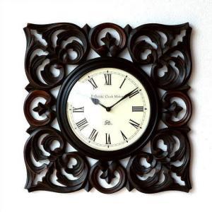 壁掛け時計 掛け時計 掛時計 壁掛時計 おしゃれ アジアン アンティーク クラシック モダン 木製 ウォールクロック ローマ数字 ウッドスクエアクロック A|gigiliving