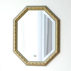 鏡 アンティーク 壁掛けミラー イタリア製 ゴールド 八角 ウォールミラー イタリアンミラー オクトA|gigiliving