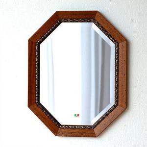 鏡 アンティーク 壁掛けミラー イタリア製 ブラウン 八角 ウォールミラー イタリアンミラー バロッコ|gigiliving