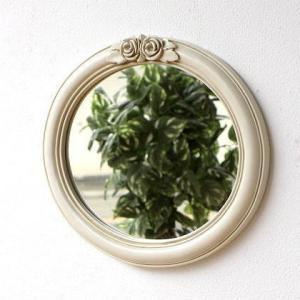 壁掛けミラー 鏡 壁掛け ウォールミラー おしゃれ かわいい ヨーロピアン レトロ 楕円 丸 アンティークホワイトのオーバルミラー|gigiliving