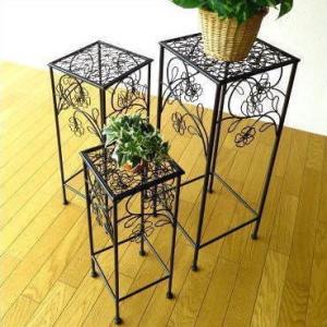 花台 フラワースタンド アイアン セット かわいい アンティーク おしゃれ プランタースタンド 花 鉢置き台 玄関 鉢スタンド アイアンスクエアスタンド3セット|gigiliving