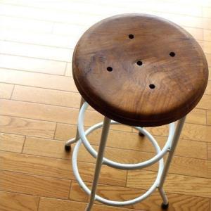 ハイスツール 木製 アイアン 椅子 カウンターチェア レトロ 高さ70cm ホワイトアイアンとウッドのスツール L|gigiliving