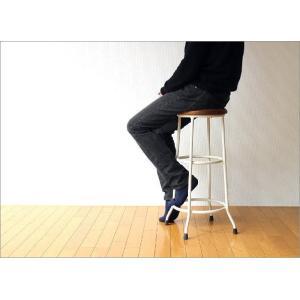 ハイスツール 木製 アイアン 椅子 カウンターチェア レトロ 高さ70cm ホワイトアイアンとウッドのスツール L|gigiliving|02