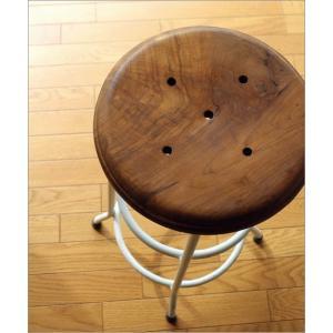 ハイスツール 木製 アイアン 椅子 カウンターチェア レトロ 高さ70cm ホワイトアイアンとウッドのスツール L|gigiliving|03