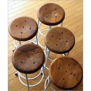 ハイスツール 木製 アイアン 椅子 カウンターチェア レトロ 高さ70cm ホワイトアイアンとウッドのスツール L|gigiliving|05
