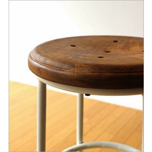 ハイスツール 木製 アイアン 椅子 カウンターチェア レトロ 高さ70cm ホワイトアイアンとウッドのスツール L|gigiliving|06