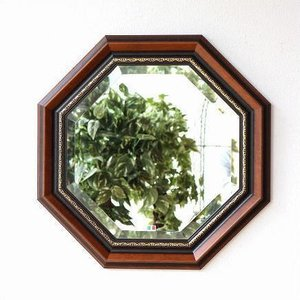 八角鏡 壁掛けミラー ウォールミラー アンティーク クラシック 木製 イタリア ウッド八角ミラーB|gigiliving