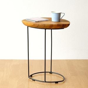 サイドテーブル 木製 おしゃれ ソファ ベッド アイアンとウッドのリーフテーブル|gigiliving