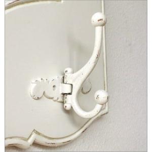 コートハンガー おしゃれ 鏡 壁掛けミラー コートフック 玄関 アンティーク コート掛け 玄関 ロココ インテリア ホワイトウッドのミラー付きコートラック|gigiliving|04