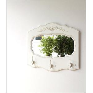 コートハンガー おしゃれ 鏡 壁掛けミラー コートフック 玄関 アンティーク コート掛け 玄関 ロココ インテリア ホワイトウッドのミラー付きコートラック|gigiliving|06